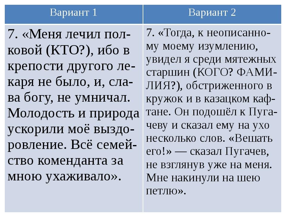 Вариант 1 Вариант 2 7. «Меня лечилпол-ковой(КТО?), ибо в крепости другоголе-к...