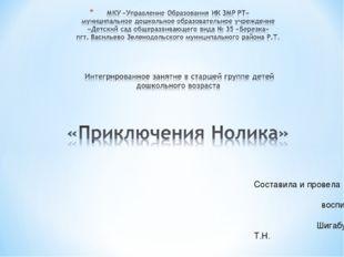 Составила и провела воспитатель Шигабутдинова Т.Н.
