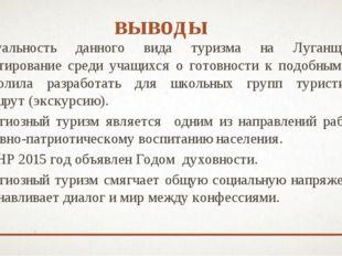 выводы Актуальность данного вида туризма на Луганщине и анкетирование среди у
