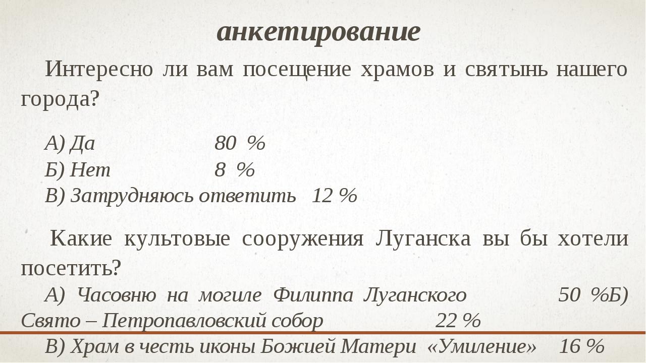 анкетирование Интересно ли вам посещение храмов и святынь нашего города? А)...