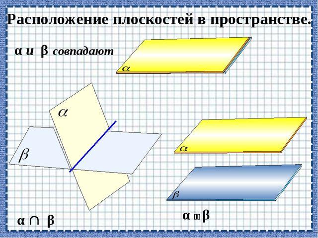 Расположение плоскостей в пространстве. α  β α и β совпадают α  β