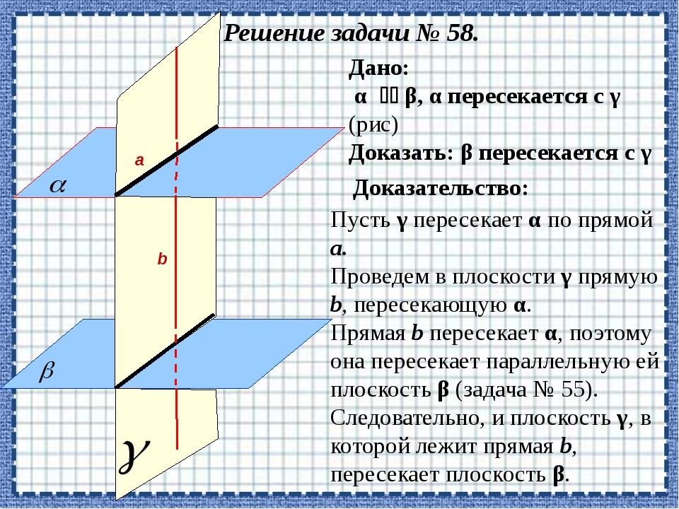 Решение задачи № 58. Доказать: β пересекается с γ Дано: α  β, α пересекает...