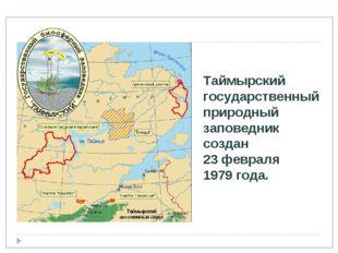 Таймырский государственный природный заповедник создан 23 февраля 1979 года.