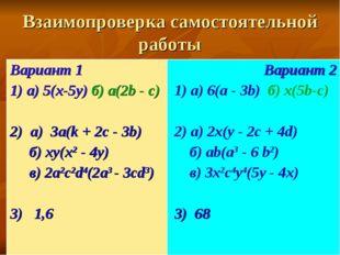 Взаимопроверка самостоятельной работы Вариант 1 1) а) 5(x-5y) б) a(2b - c) 2)