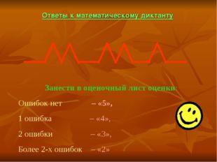 Ответы к математическому диктанту Занести в оценочный лист оценки: Ошибок нет