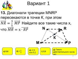 Вариант 1 * д) Такого действительного числа нет г) 2,5 а) 0,6 в) -2,5 или 5,2