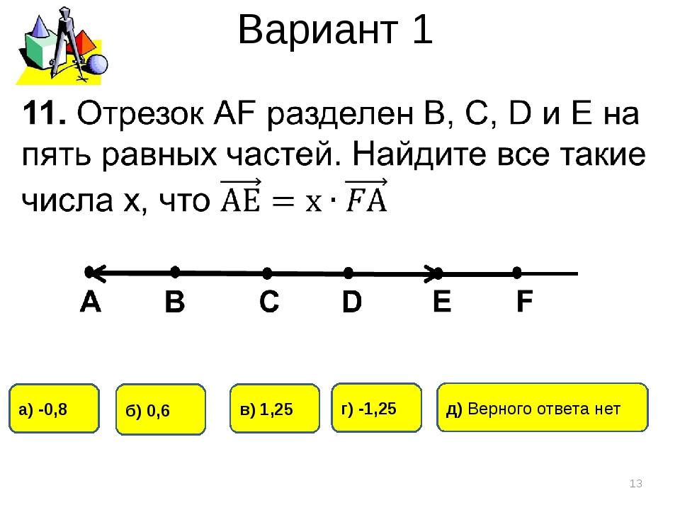 Вариант 1 * а) -0,8 г) -1,25 б) 0,6 в) 1,25 д) Верного ответа нет