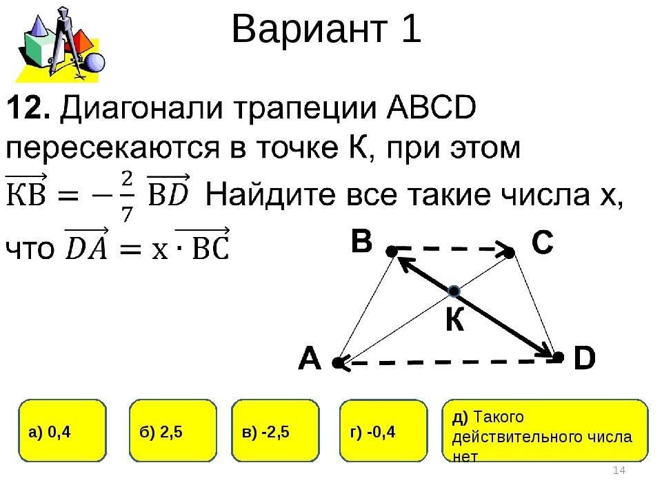 Вариант 1 * в) -2,5 г) -0,4 б) 2,5 а) 0,4 д) Такого действительного числа нет