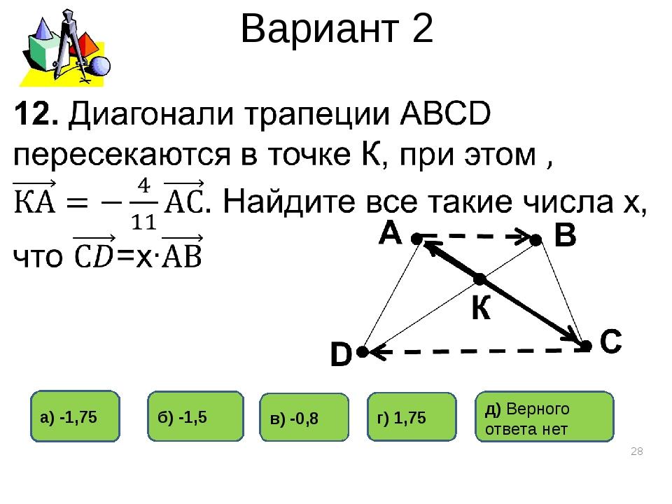 Вариант 2 * а) -1,75 в) -0,8 б) -1,5 г) 1,75 д) Верного ответа нет