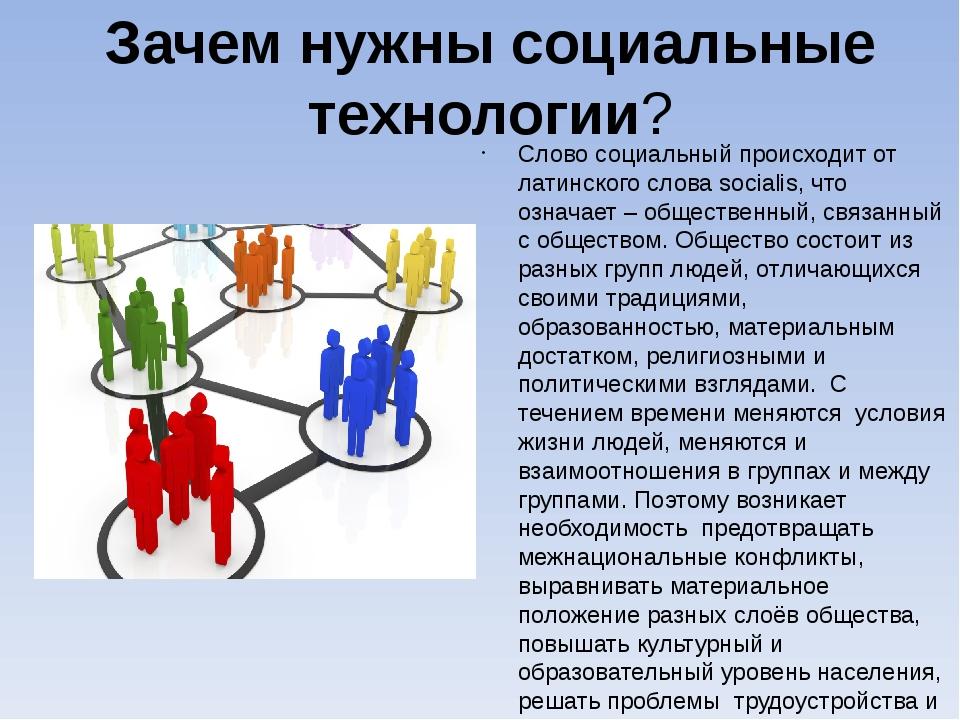 Зачем нужны социальные технологии? Слово социальный происходит от латинского...