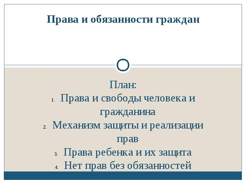 План: Права и свободы человека и гражданина Механизм защиты и реализации прав...