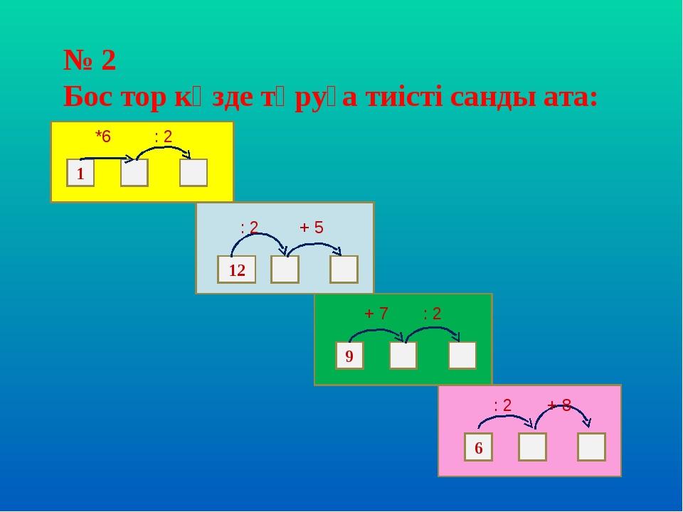 № 2 Бос тор көзде тұруға тиісті санды ата: 1 12 9 6 *6 : 2 : 2 + 5 : 2 + 7 :...