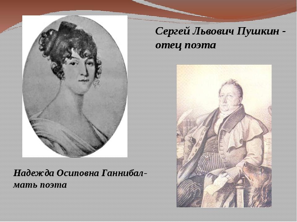 Сергей Львович Пушкин - отец поэта Надежда Осиповна Ганнибал- мать поэта