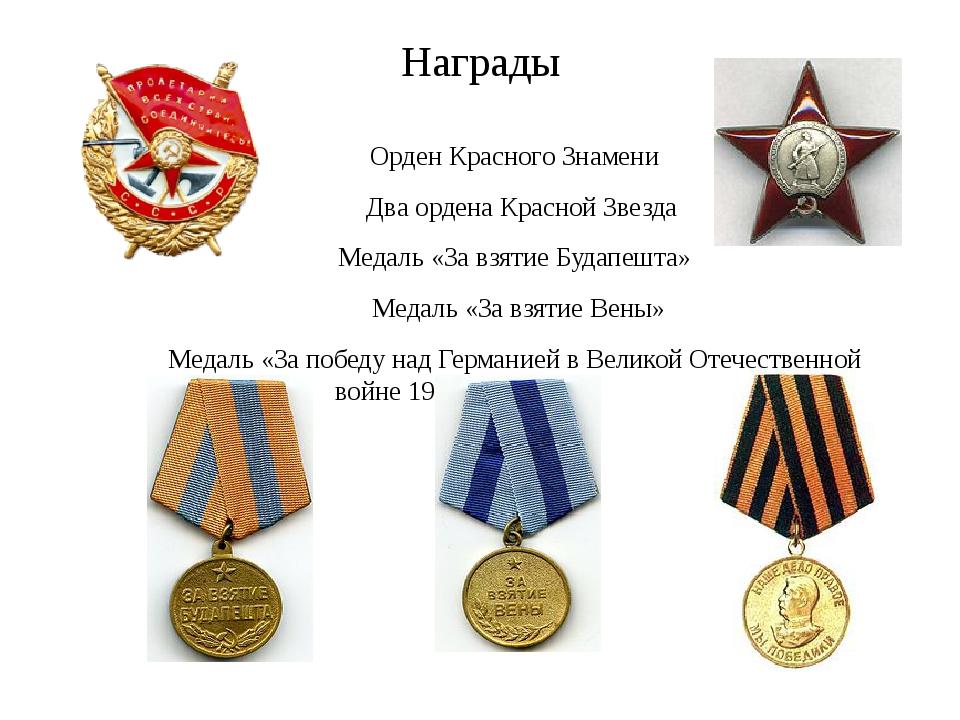 Награды Орден Красного Знамени Два ордена Красной Звезда ...