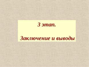 3 этап. Заключение и выводы