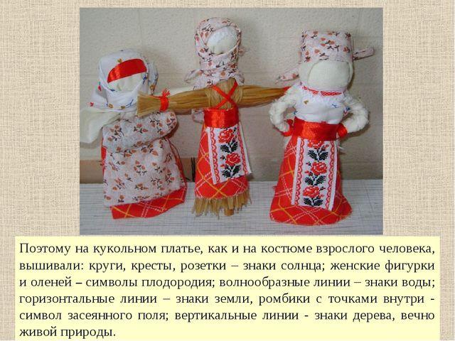 Поэтому на кукольном платье, как и на костюме взрослого человека, вышивали: к...