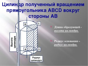 Цилиндр полученный вращением прямоугольника ABCD вокруг стороны AB Длина обра
