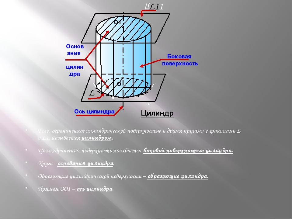 Тело, ограниченное цилиндрической поверхностью и двумя кругами с границами L...