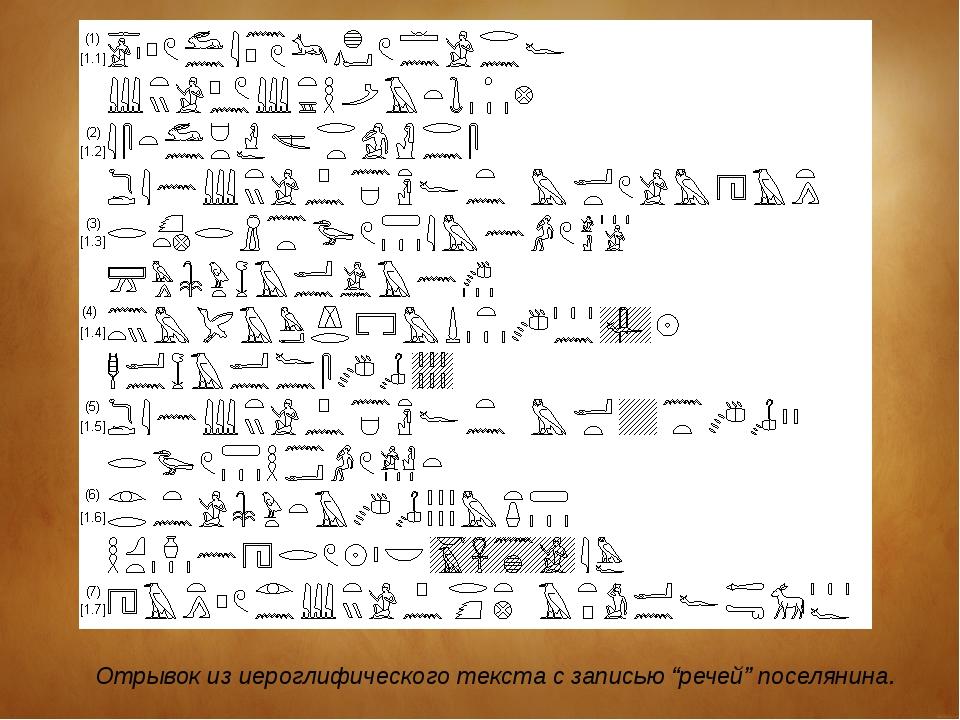 """Отрывок из иероглифического текста с записью """"речей"""" поселянина."""
