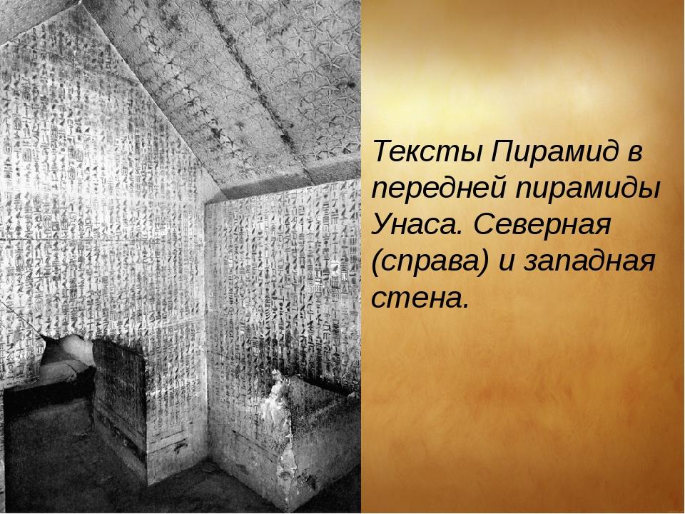 Тексты Пирамид в передней пирамидыУнаса. Северная (справа) и западная стена.