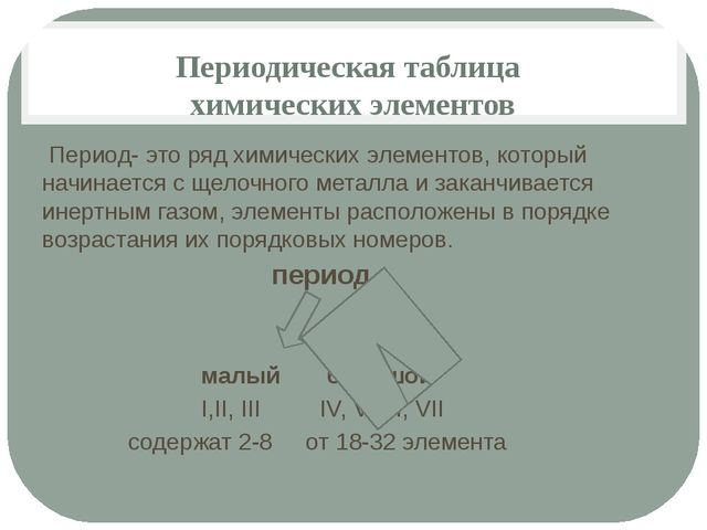 Периодическая таблица химических элементов Период- это ряд химических элемент...