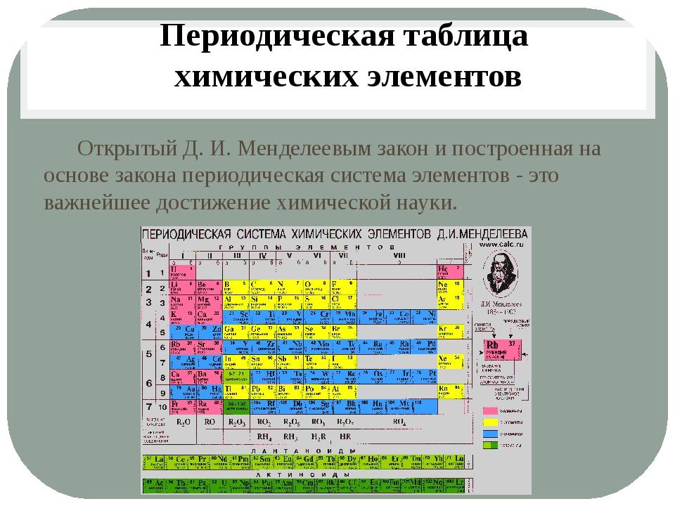 Открытый Д. И. Менделеевым закон и построенная на основе закона периодическа...