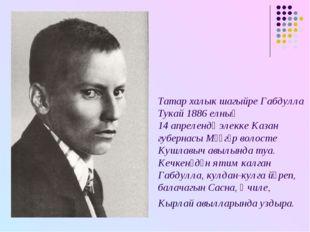 Татар халык шагыйре Габдулла Тукай 1886 елның 14 апрелендә элекке Казан губер