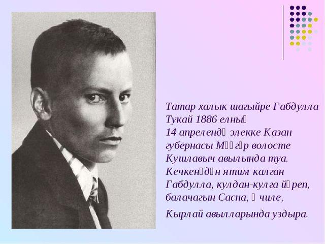 Татар халык шагыйре Габдулла Тукай 1886 елның 14 апрелендә элекке Казан губер...