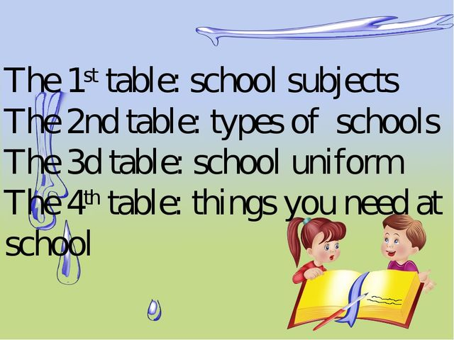 The 1st table: school subjects The 2nd table: types of schools The 3d table:...