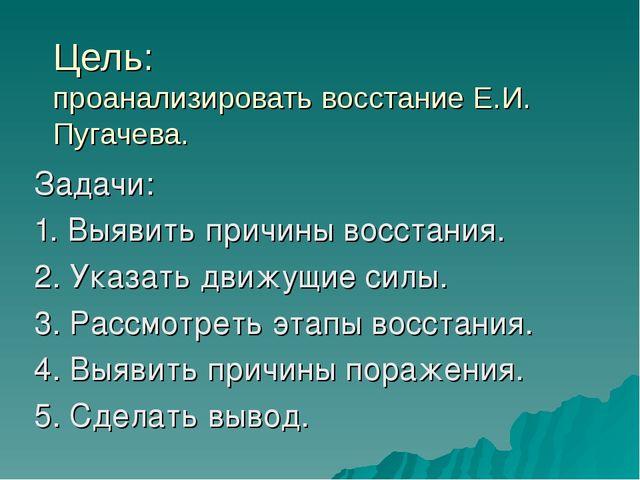 Цель: проанализировать восстание Е.И. Пугачева. Задачи: 1. Выявить причины во...