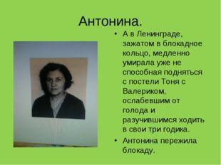 Антонина. А в Ленинграде, зажатом в блокадное кольцо, медленно умирала уже не