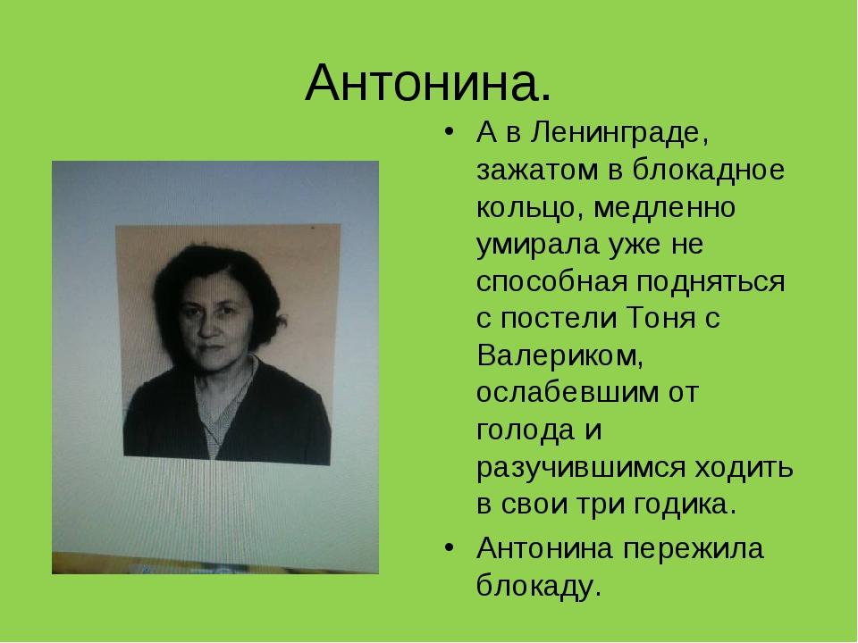 Антонина. А в Ленинграде, зажатом в блокадное кольцо, медленно умирала уже не...