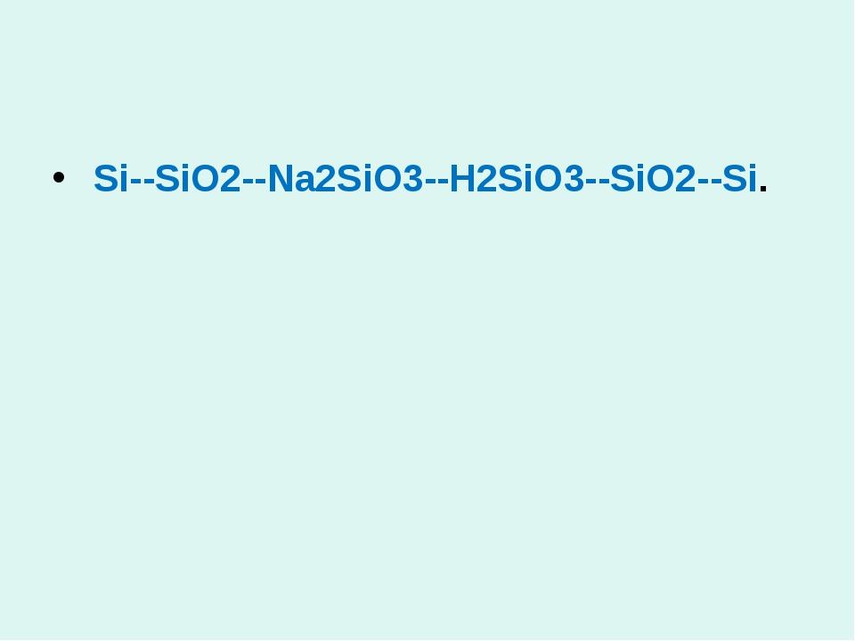 Si--SiO2--Na2SiO3--H2SiO3--SiO2--Si.