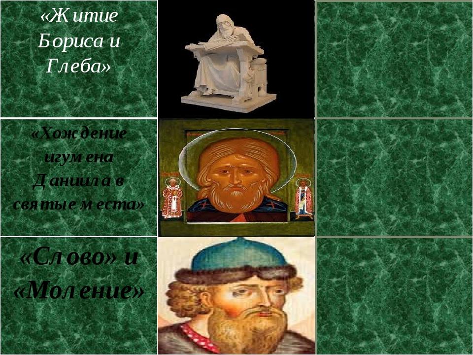 «Житие Бориса и Глеба» Монах Нестор XIвек «Хождение игумена Даниила в святыем...