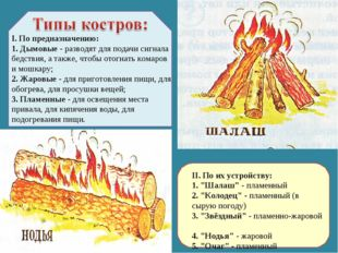 I. По предназначению: 1. Дымовые - разводят для подачи сигнала бедствия, а та