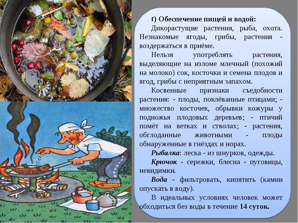 г) Обеспечение пищей и водой: Дикорастущие растения, рыба, охота. Незнакомые...
