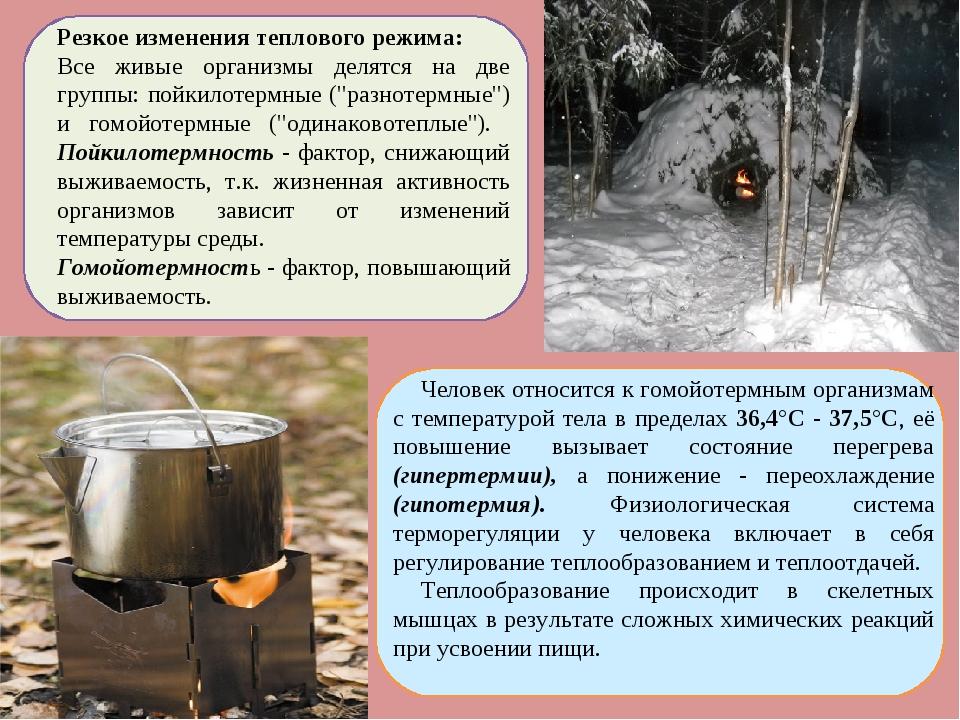 Резкое изменения теплового режима: Все живые организмы делятся на две группы:...