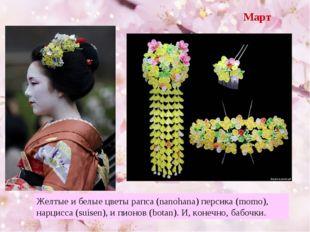 Март Желтые и белые цветы рапса (nanohana) персика (momo), нарцисса (suisen),