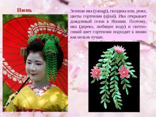 Июнь Зеленая ива (yanagi), гвоздика или, реже, цветы гортензии (ajisai). Ива