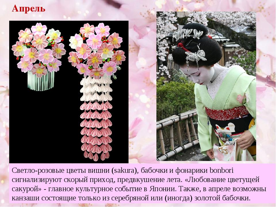 Апрель Светло-розовые цветы вишни (sakura), бабочки и фонарики bonbori сигнал...