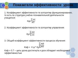 Показатели эффективности урока 1. Коэффициент эффективности по алгоритму функ