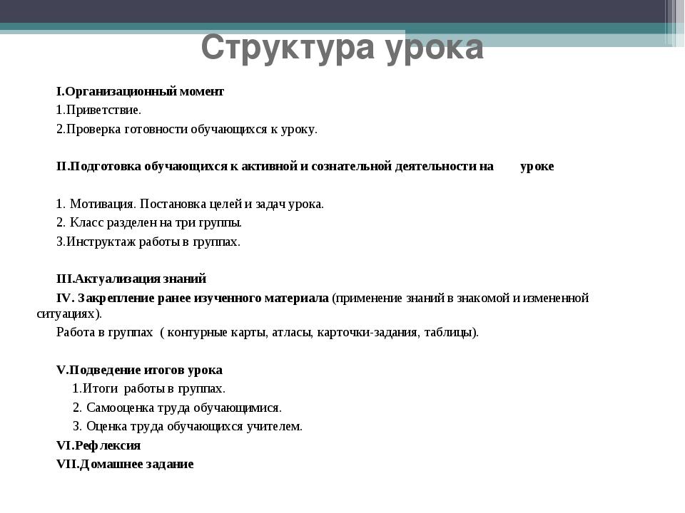 Структура урока I.Организационный момент 1.Приветствие. 2.Проверка готовности...