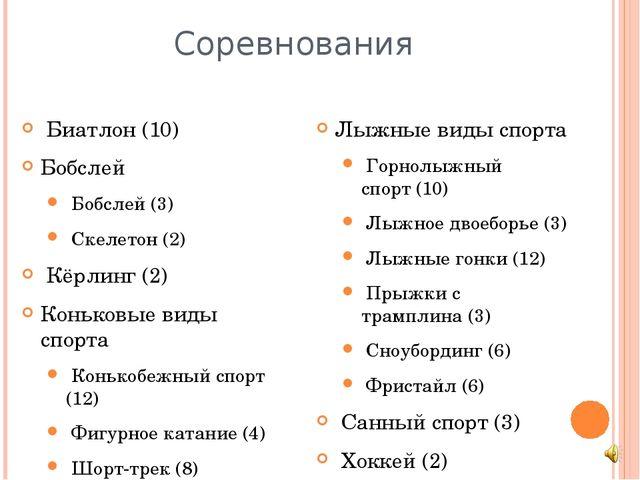 Соревнования Биатлон(10) Бобслей Бобслей(3) Скелетон(2) Кёрлинг(2) Ко...