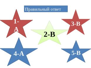 Правильный ответ 1-А 5-В 4-А 2-В 3-В