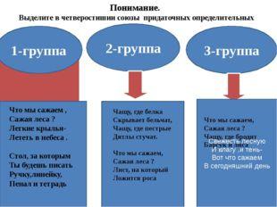 Понимание. Выделите в четверостишии союзы придаточных определительных 1-групп