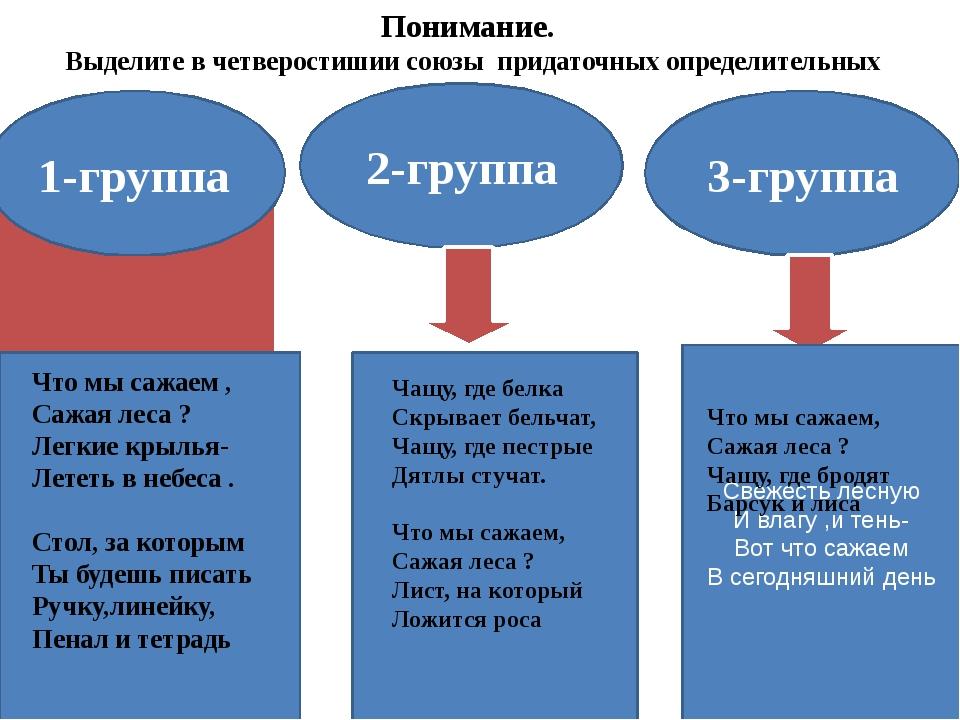 Понимание. Выделите в четверостишии союзы придаточных определительных 1-групп...
