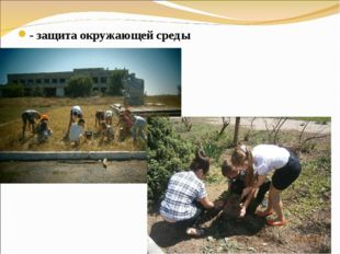 - защита окружающей среды