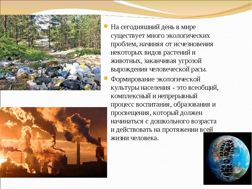 На сегодняшний день в мире существует много экологических проблем, начиняя от...
