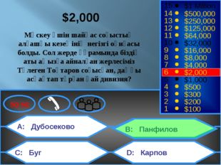 A: Дубосеково C: Буг B: Панфилов D: Карпов 50:50 15 14 13 12 11 10 9 8 7 6 5