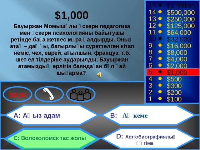 Ақ кеме A: Аңыз адам C: Волоколомск тас жолы B: D: Афтобиографиялық әңгіме 50...